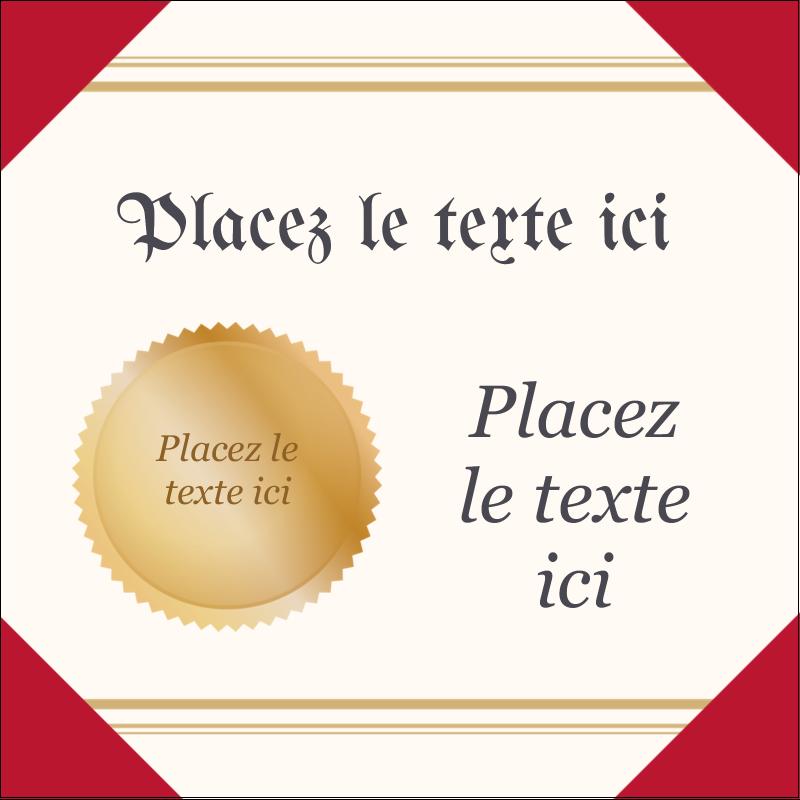 """1½"""" x 1½"""" Étiquettes carrées - Diplôme d'études"""