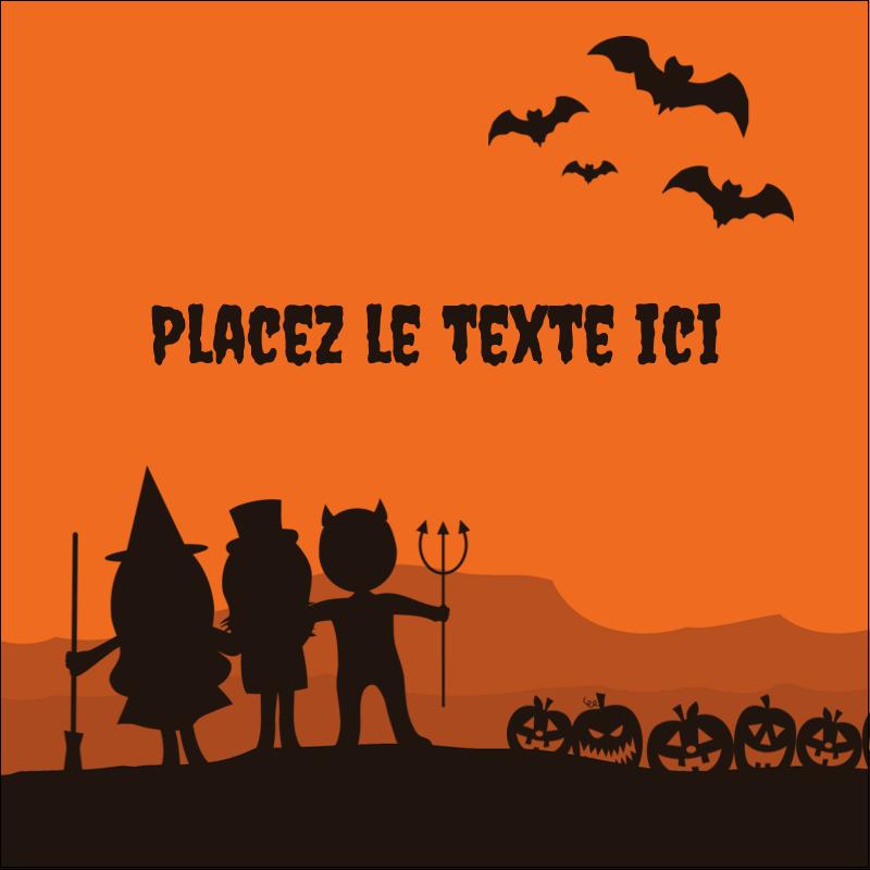 """1½"""" x 1½"""" Étiquettes carrées - Enfants à l'Halloween"""