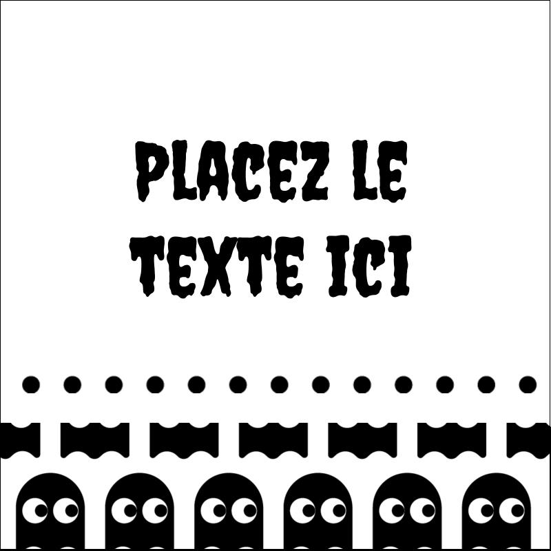 """1½"""" x 1½"""" Étiquettes carrées - Fantômes Pac-Man d'Halloween"""