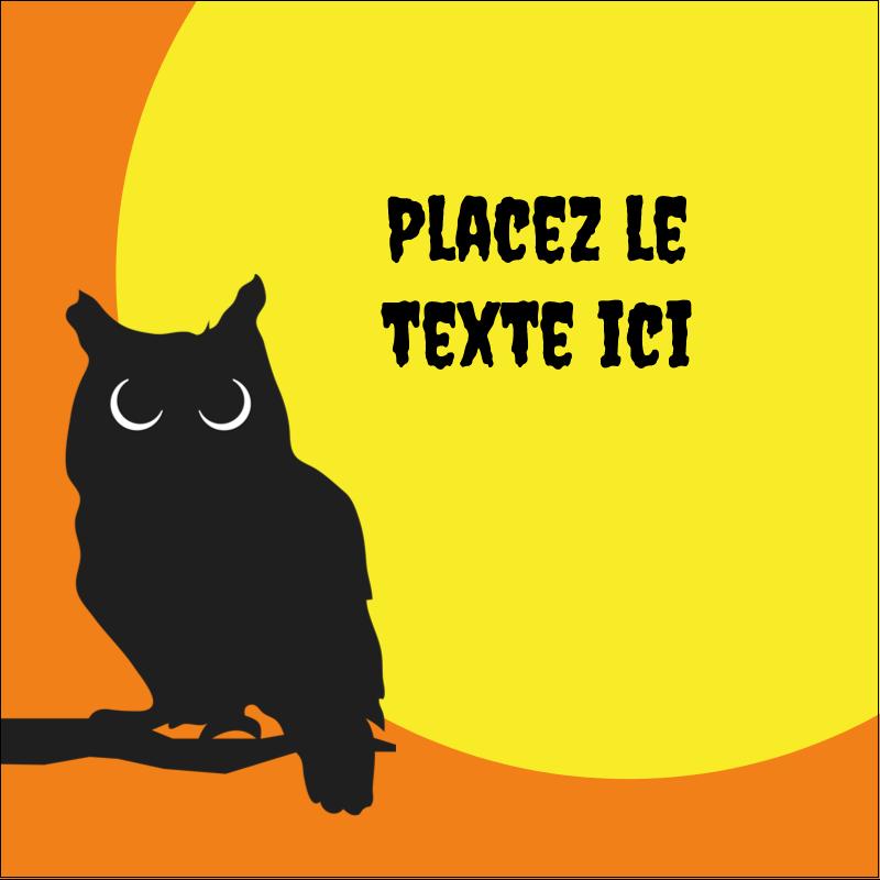 """1½"""" x 1½"""" Étiquettes carrées - Chouette d'Halloween"""