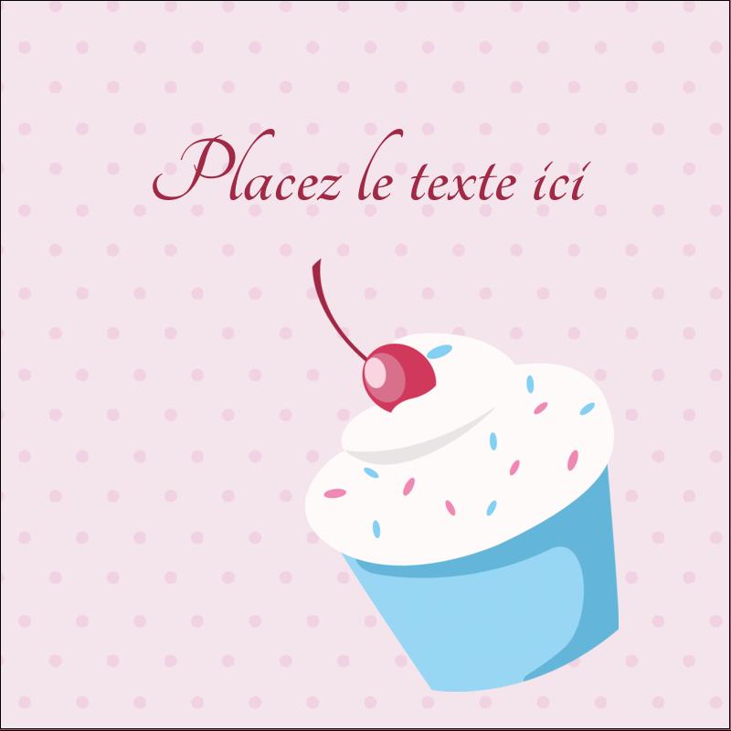 """2"""" x 2"""" Étiquettes carrées - Petit gâteau aux cerises"""