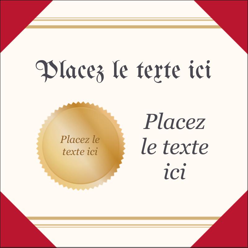 """2"""" x 2"""" Étiquettes carrées - Diplôme d'études"""