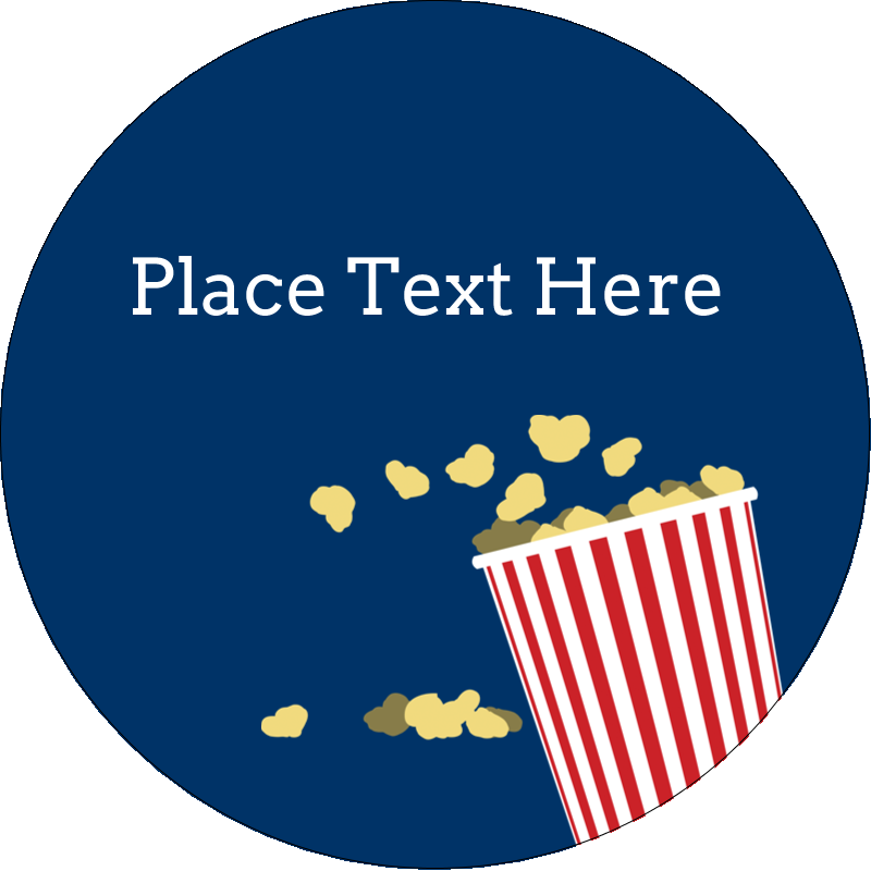 "2½"" Round Label - Movie Popcorn"