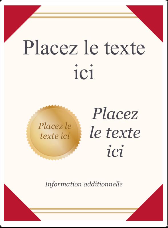 """4¾"""" x 3½"""" Étiquettes rectangulaires - Diplôme d'études"""