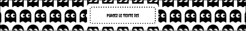 """9¾"""" x 1¼"""" Étiquettes enveloppantes - Fantômes Pac-Man d'Halloween"""