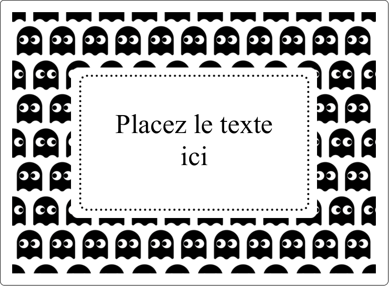 """4¾"""" x 3½"""" Étiquettes rectangulaires - Fantômes Pac-Man d'Halloween"""