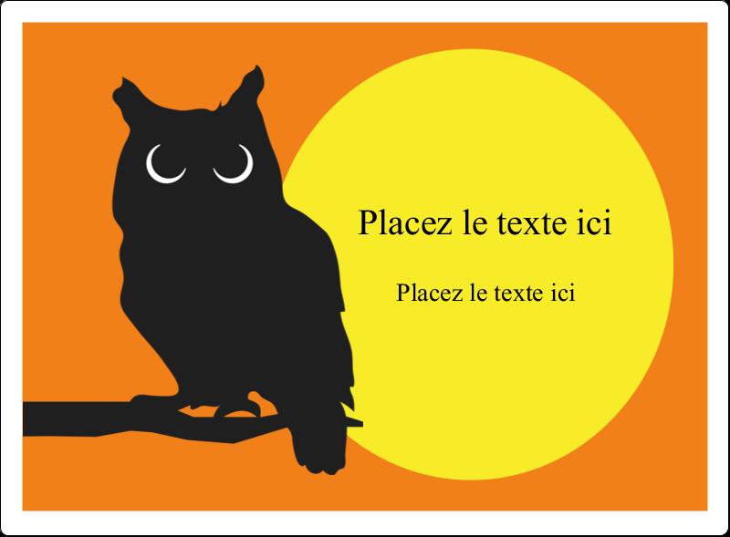 """4¾"""" x 3½"""" Étiquettes rectangulaires - Chouette d'Halloween"""