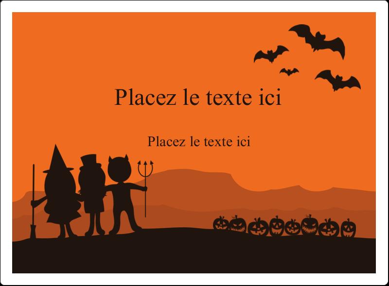 """4¾"""" x 3½"""" Étiquettes rectangulaires - Enfants à l'Halloween"""