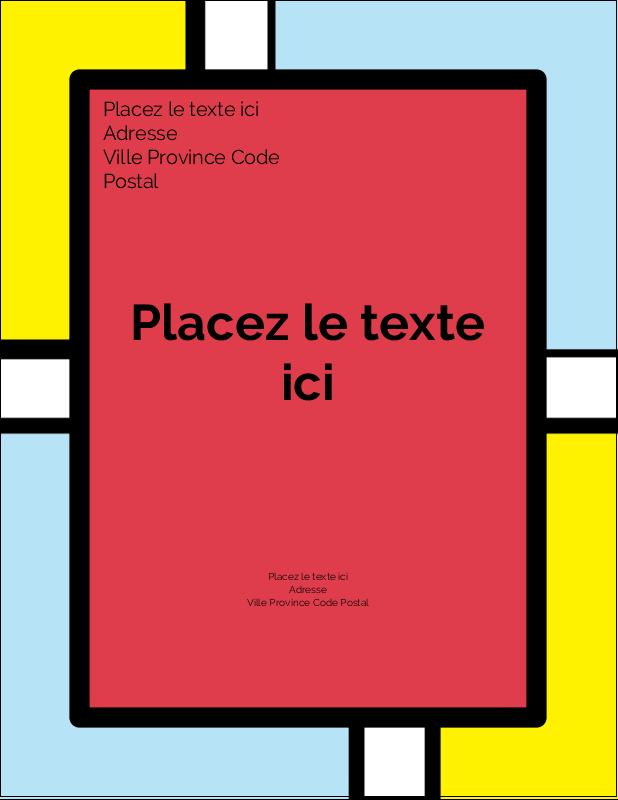 """4¼"""" X 5½"""" Carte Postale - Carrés Mondrian rouges"""