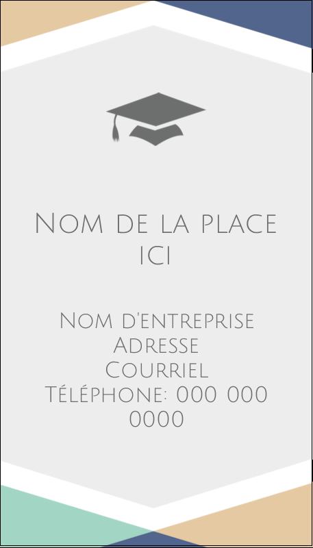 """3½"""" x 2"""" Carte d'affaire - Diplômes et couleurs"""