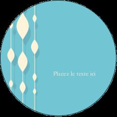 """3"""" Diameter Étiquettes rondes - Rideau de perles bleues"""
