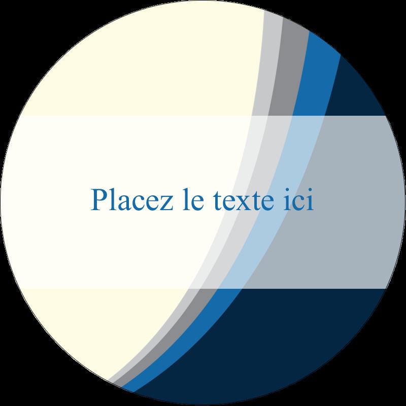 """3"""" Diameter Étiquettes rondes - Vague bleue"""