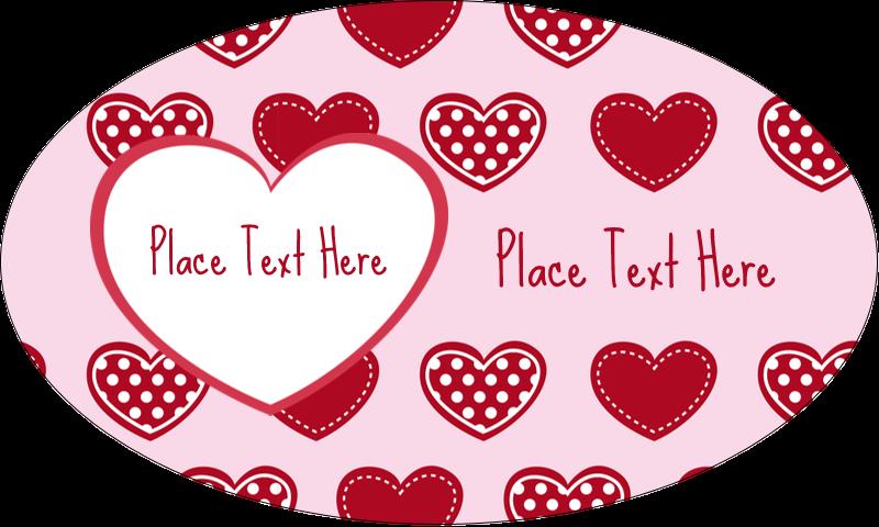 "1½"" x 2½"" Oval Glossy Label - Valentine Heart Pattern"