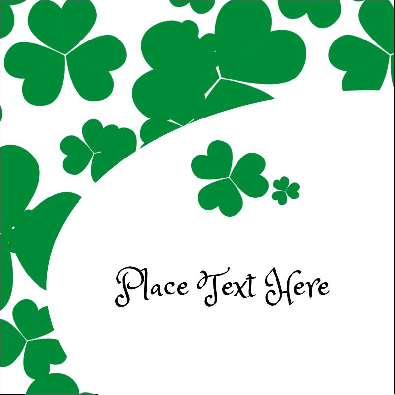 "2"" x 2"" Sqaure Label - St. Patrick's Shamrock Background"