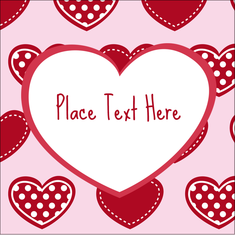 "1½"" x 1½"" Square Label - Valentine Heart Pattern"