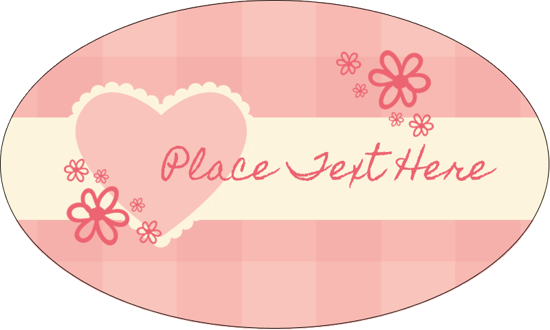 "1½"" x 2½"" Oval Glossy Label - Valentine Gingham"