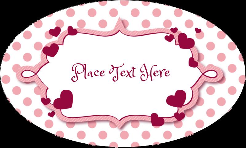 "1½"" x 2½"" Oval Glossy Label - Valentine Bubbles"