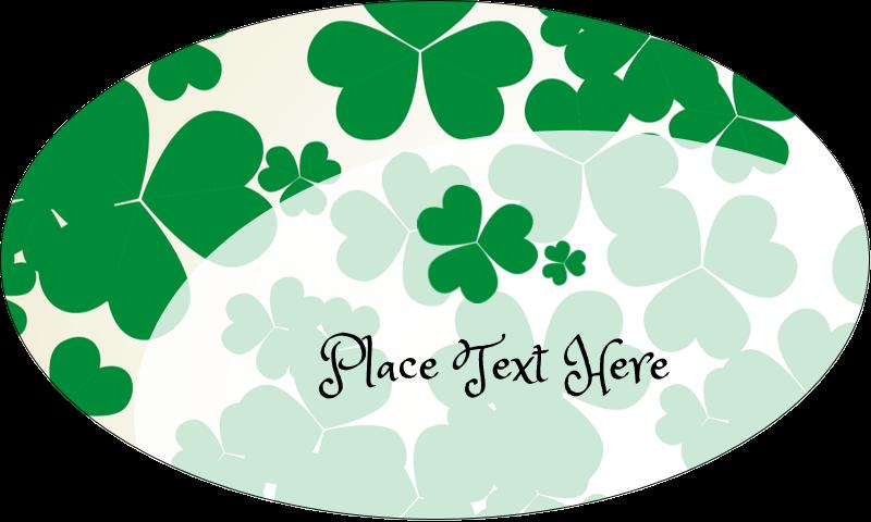 """1½"""" x 2½"""" Oval Glossy Label - St. Patrick's Shamrock Background"""