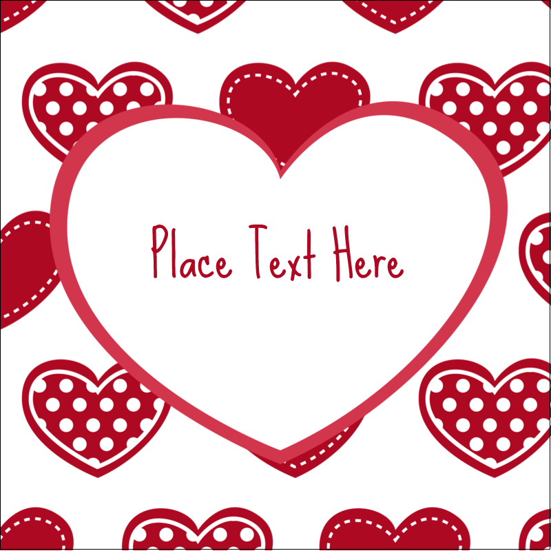 """2"""" x 2"""" Sqaure Label - Valentine Heart Pattern"""