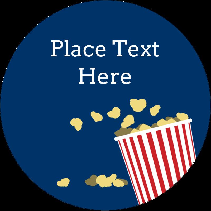 """2"""" Round Label - Movie Popcorn"""