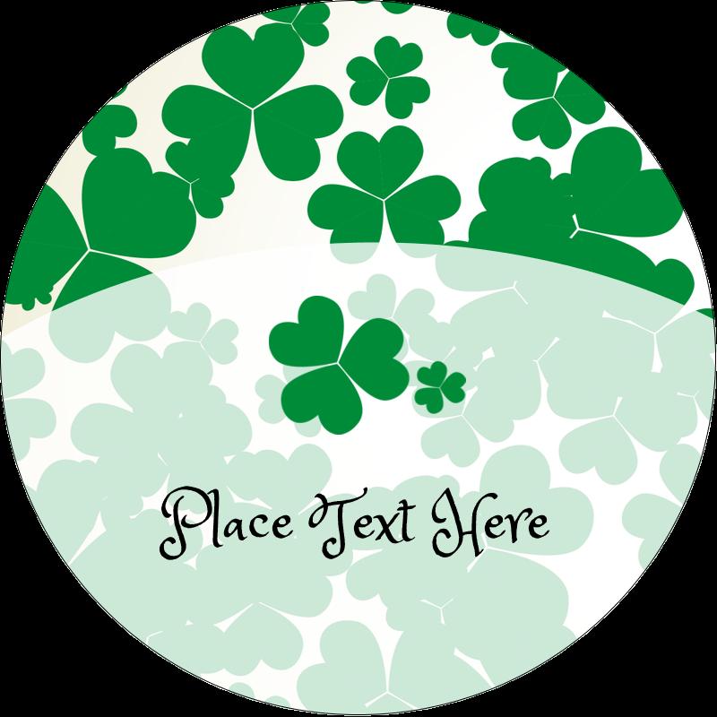 "2"" Round Label - St. Patrick's Shamrock Background"