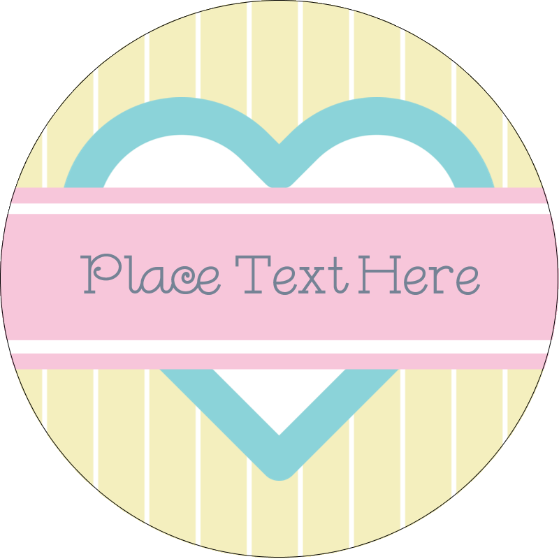 "2"" Round Label - Blue Heart"