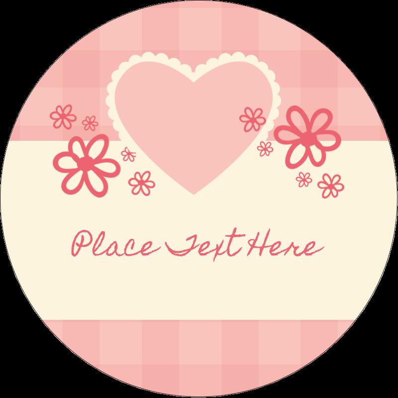 """2"""" Round Label - Valentine Gingham"""
