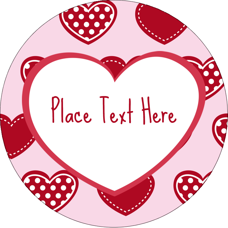 "2"" Round Label - Valentine Heart Pattern"