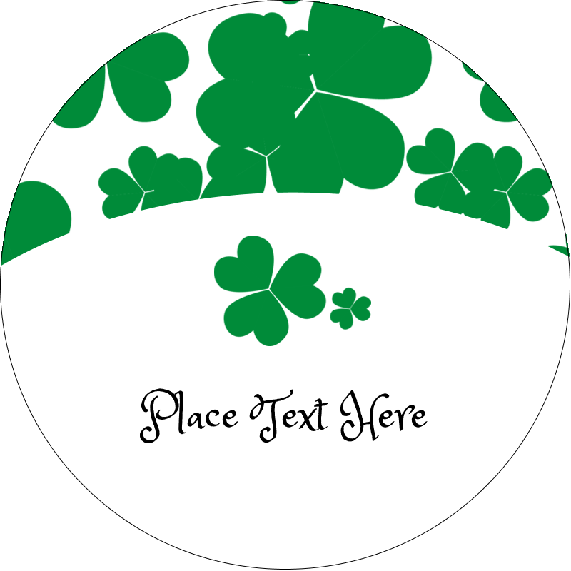 "2½"" Round Label - St. Patrick's Shamrock Background"