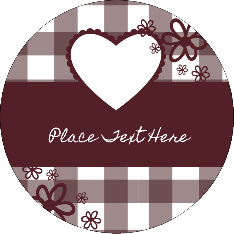 "2½"" Round Label - Valentine Gingham"