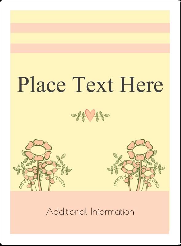 "4¾"" x 3½"" Rectangular Label - Flower Sketch"