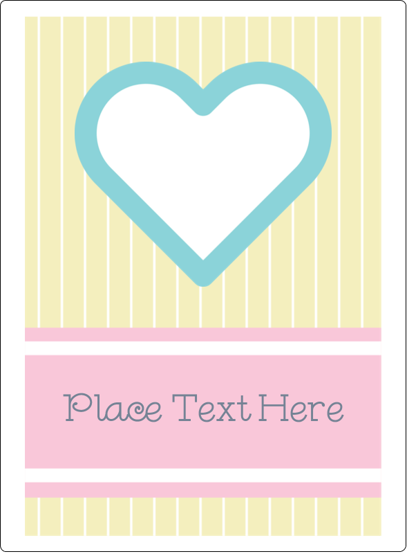 "4¾"" x 3½"" Rectangular Label - Blue Heart"