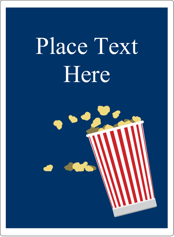 "4¾"" x 3½"" Rectangular Label - Movie Popcorn"