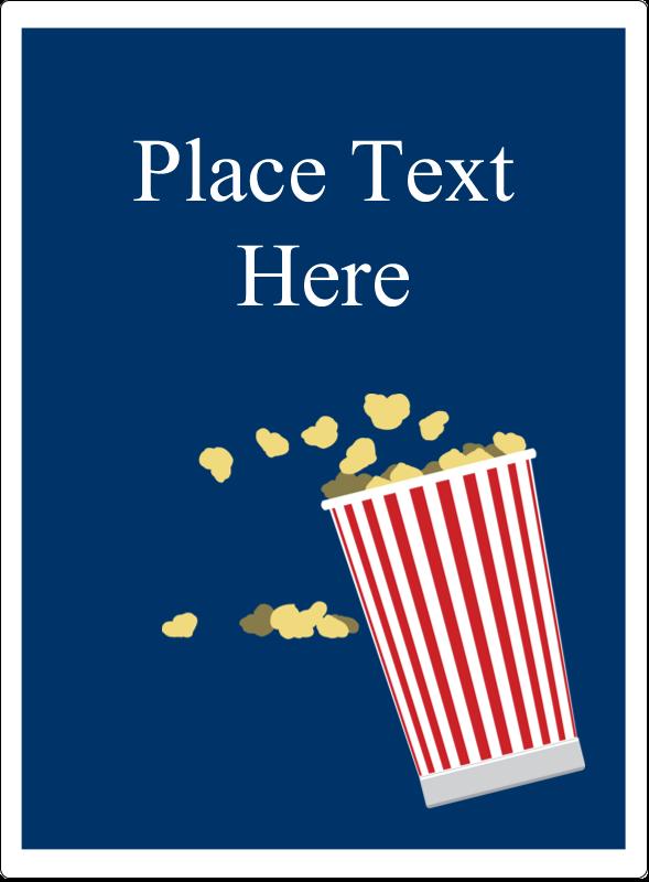 "4¾"" x 3½"" Rectangular Label - Movie Popcorn"