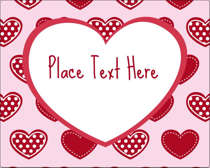 """3"""" x 3¾"""" Rectangular Label - Valentine Heart Pattern"""