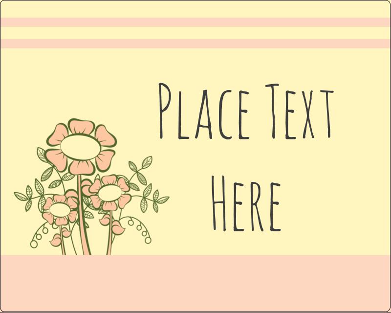 "3"" x 3¾"" Rectangular Label - Flower Sketch"