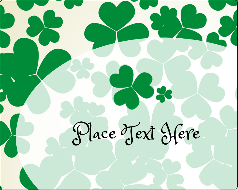 "3"" x 3¾"" Rectangular Label - St. Patrick's Shamrock Background"