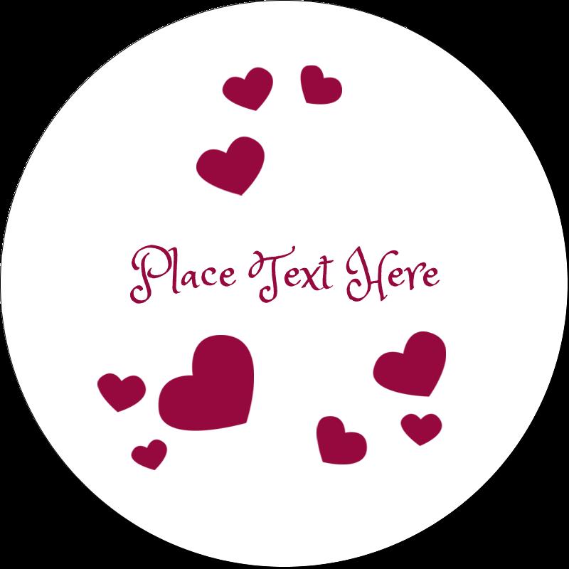 "2"" Embossed Round Label - Valentine Bubbles"