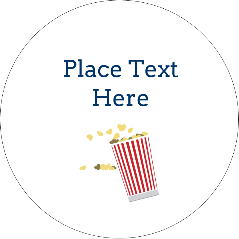 "2"" Embossed Round Label - Movie Popcorn"