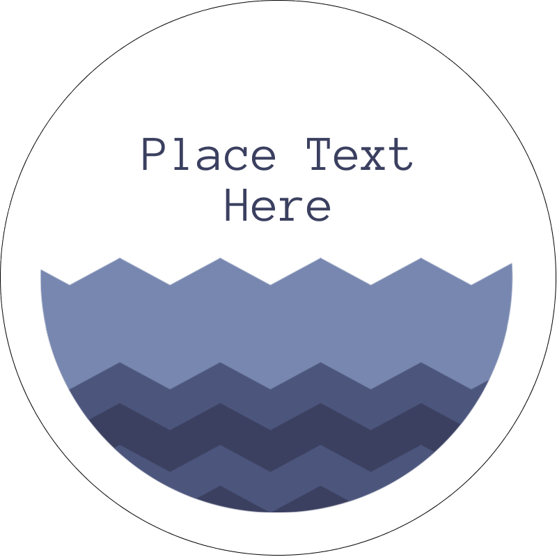 "2"" Embossed Round Label - Blue Chevron"