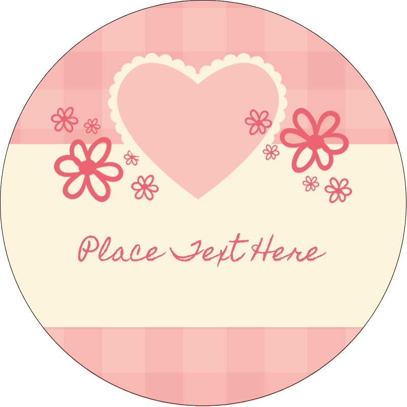 """2½"""" Round Label - Valentine Gingham"""