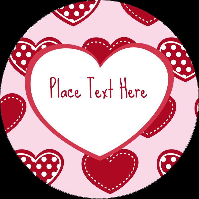 """2½"""" Round Label - Valentine Heart Pattern"""