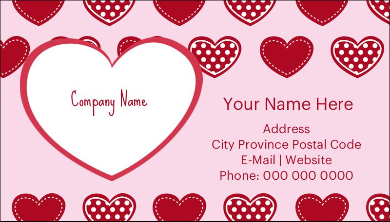 "2"" x 3½"" Business Card - Valentine Heart Pattern"