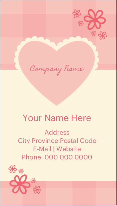 "3½"" x 2"" Business Card - Valentine Gingham"