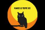 Chouette d'Halloween Étiquettes rondes - gabarit prédéfini. <br/>Utilisez notre logiciel Avery Design & Print Online pour personnaliser facilement la conception.