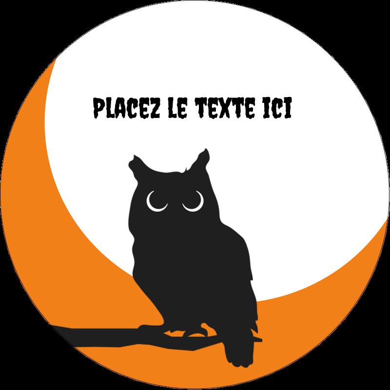 """2½"""" Diameter Étiquettes rondes - Chouette d'Halloween"""