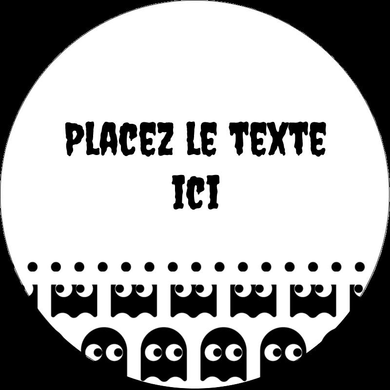 """2½"""" Diameter Étiquettes rondes - Fantômes Pac-Man d'Halloween"""