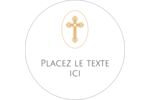 Croix pastel Étiquettes rondes gaufrées - gabarit prédéfini. <br/>Utilisez notre logiciel Avery Design & Print Online pour personnaliser facilement la conception.