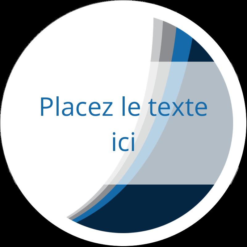 """2"""" Diameter Étiquettes rondes gaufrées - Vague bleue"""