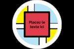 Carrés Mondrian rouges Étiquettes rondes gaufrées - gabarit prédéfini. <br/>Utilisez notre logiciel Avery Design & Print Online pour personnaliser facilement la conception.